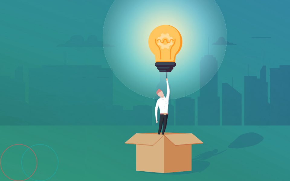 Man with lightbulb representing Innovation