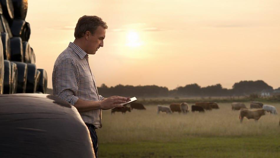 Farmer using tech