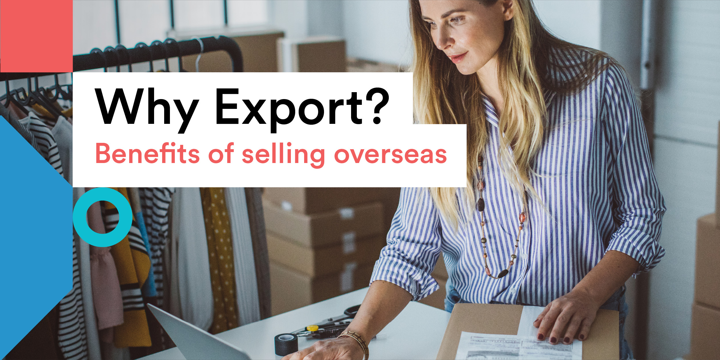 Why Export title - image of woman packing a box