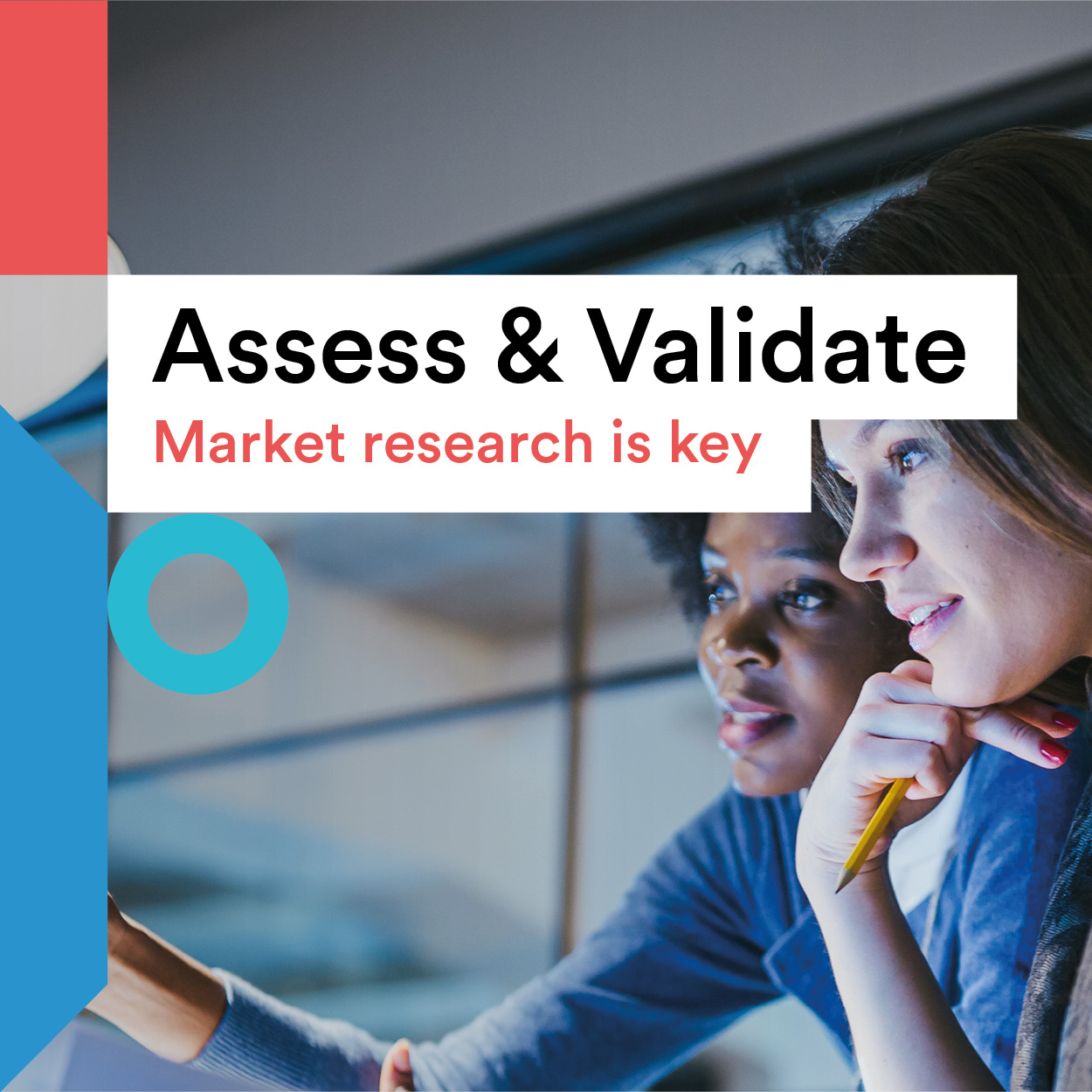 Assess & validate title and two women at a computer screen