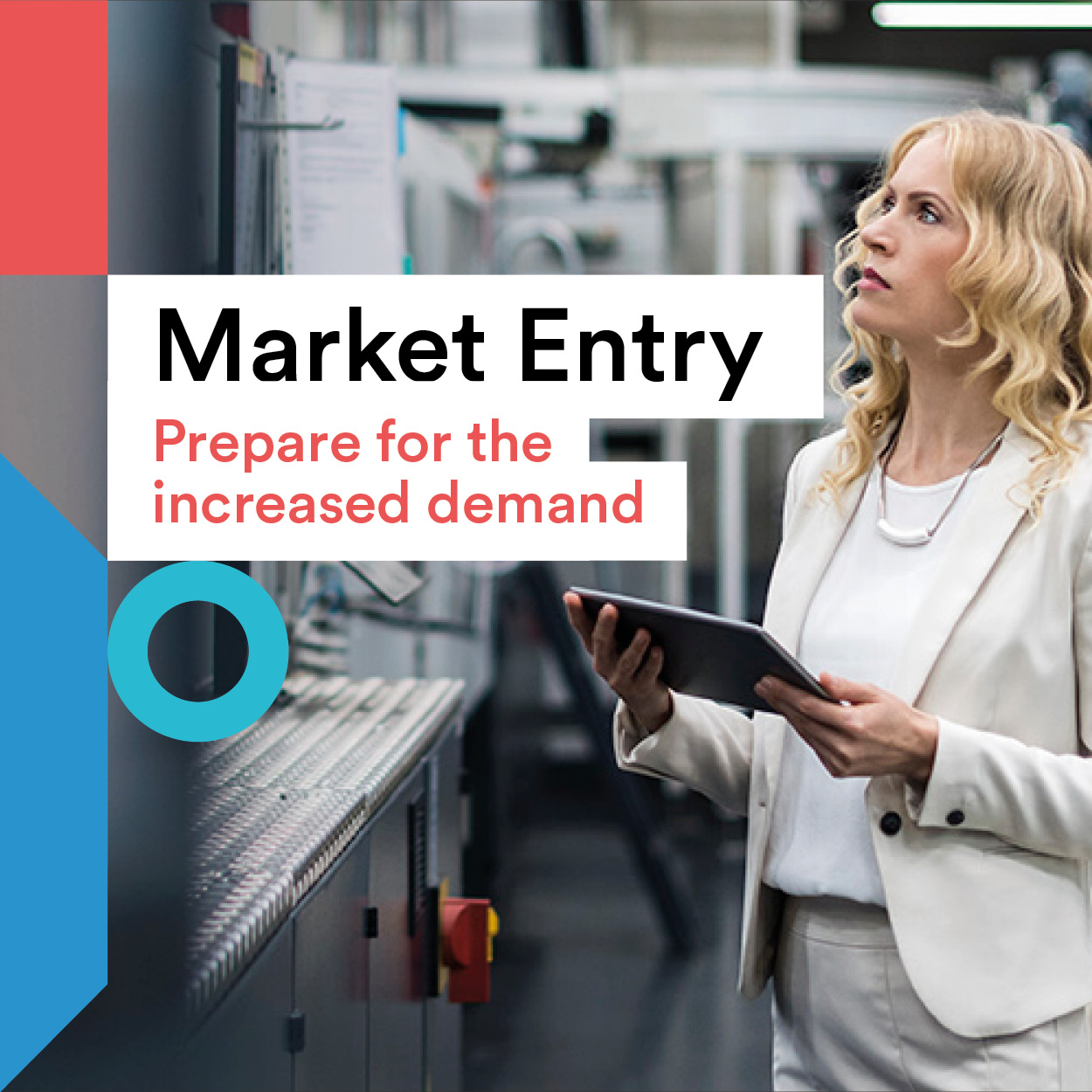 Market Entry title and businesswoman image